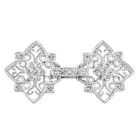 rhodium sterling silver 35x17mm cubic zirconia filigree fold over clasp