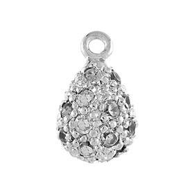 rhodium sterling silver 10x6mm cubic zirconia pave pear pendant