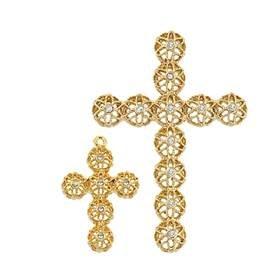 Vermeil  Gold Cubic Zirconia Filigree Cross Charm