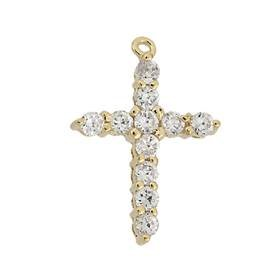 vermeil 19x14mm cubic zirconia cross charm