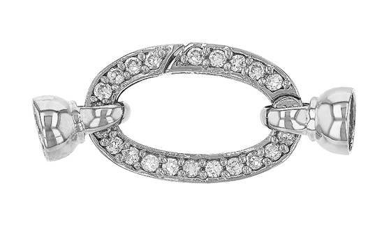 rhodium sterling silver 25x16mm cubic zirconia oval springring clasp