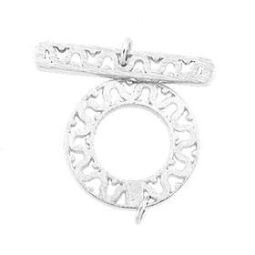 rhodium sterling silver 18mm filigree toggle clasp