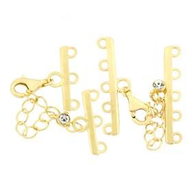 Gold Vermeil Cubic Zirconia Adjustable Bar Clasps