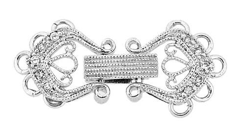 rhodium sterling silver 24x10mm cubic zirconia multi-strand fold over clasp