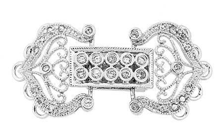 rhodium sterling silver 28x15mm cubic zirconia multi-strand fold over clasp