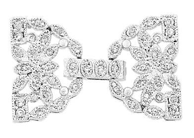 rhodium sterling silver 26x17mm cubic zirconia multi-strand fold over clasp