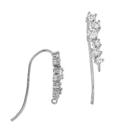 Rhodium Sterling Silver Earwire Earring (G)