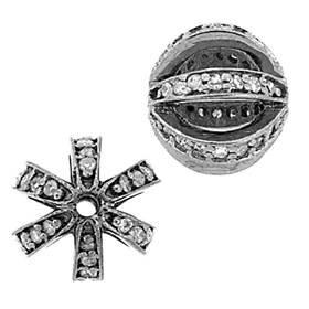 rhodium sterling silver 36pts 10mm diamond filigree ball bead