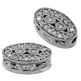 rhodium sterling silver 39pts 10x6mm diamond oval bead