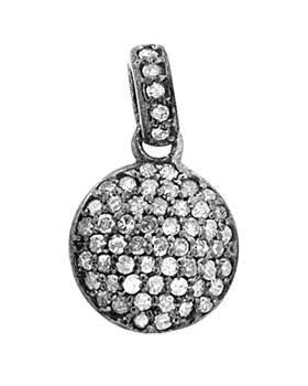 rhodium sterling silver 59pts 11mm diamond half dome charm