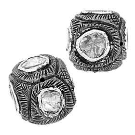 rhodium sterling silver 85pts 11mm diamond cube bead