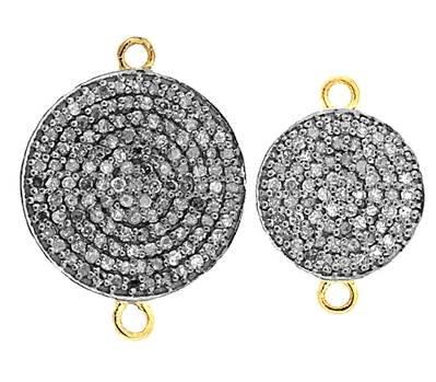 Rhodium Sterling Silver Circle Diamond Connector