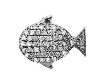 rhodium sterling silver 45pts 15x10mm diamond whale charm