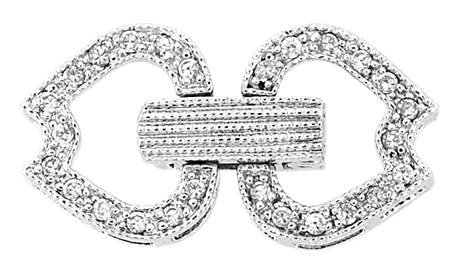 rhodium sterling silver 20x10mm cubic zirconia multi-strand fold over clasp