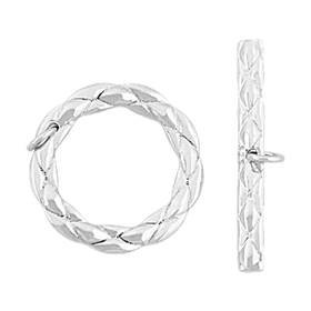 rhodium sterling silver 18mm twists toggle clasp