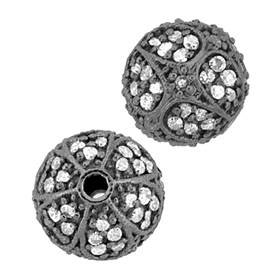 rhodium sterling silver 60pts 10mm diamond round bead