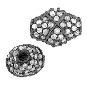 rhodium sterling silver 72pts 11x8mm diamond flat oval bead