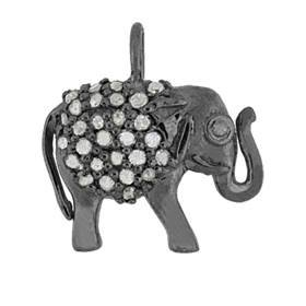 rhodium sterling silver 25pts 13mm diamond elephant charm