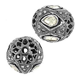 rhodium sterling silver 1.35cts 12.5x11mm diamond oval bead
