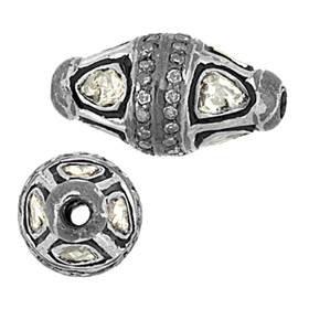 rhodium sterling silver 1.30cts 17x10mm diamond barrel bead