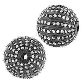 rhodium sterling silver 2.60cts 15mm diamond ball bead