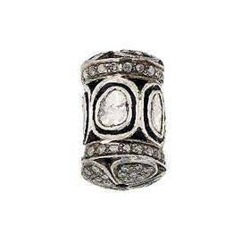rhodium sterling silver 2.01cts 17x11mm diamond barrel bead