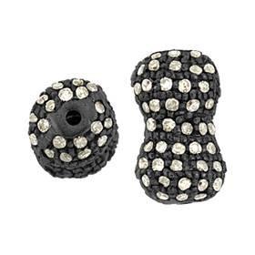 rhodium sterling silver 7x13mm diamond peanut bead