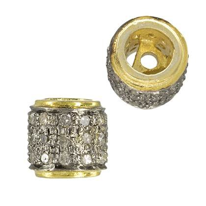 gold plated sterling silver 6x8mm 33pts three diamond row roundel bead