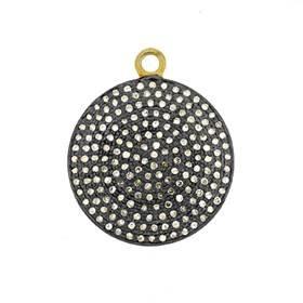 rhodium sterling silver 26mm 1.53cts diamond disc pendant