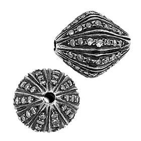 rhodium sterling silver 10x12mm 51pts diamond bicone bead
