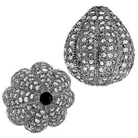 rhodium sterling silver 13x15mm 1.58cts diamond pumpkin bead
