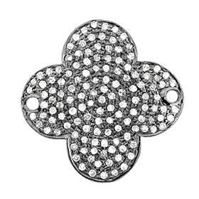 rhodium sterling silver 23mm 1.12cts diamond clover connector
