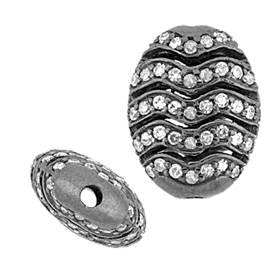 rhodium sterling silver 12x16mm 1.01cts two sided diamond wavy bead