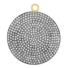 rhodium sterling silver 30mm 2.55cts diamond disc pendant