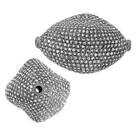rhodium sterling silver 33x22mm 6.27cts diamond nugget bead
