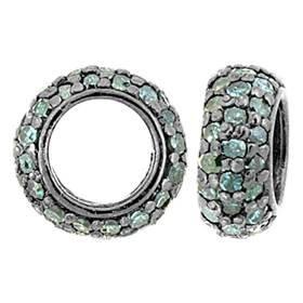 rhodium sterling silver 9mm 60pts three blue diamond row roundel bead