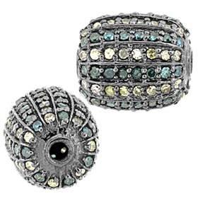 rhodium sterling silver 12x10mm 1.15cts blue diamond drum bead