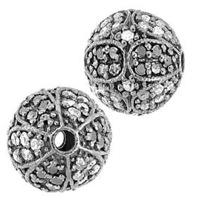 rhodium sterling silver 10mm 66pts diamond ball bead