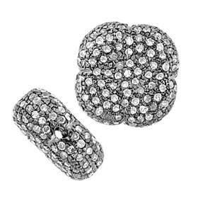 rhodium sterling silver 15mm 1.79cts diamond flower bead