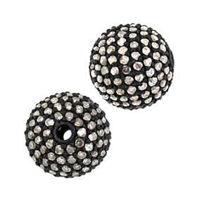 rhodium sterling silver 10mm 1.09cts diamond ball bead