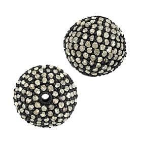 rhodium sterling silver 1.70ct 12mm diamond ball bead