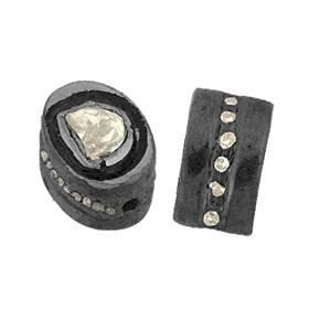 rhodium sterling silver 8x7mm diamond flat roundel bead