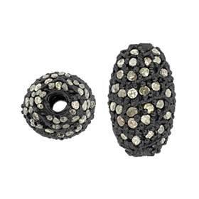 rhodium sterling silver 62pts 13x8mm diamond rice bead