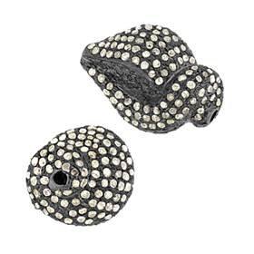 rhodium sterling silver 1.72cts 18x14mm diamond snail bead