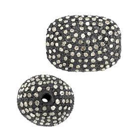 rhodium sterling silver 2.84cts 16x11mm diamond nugget bead