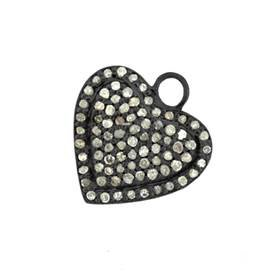 rhodium sterling silver 72pts 17mm diamond heart charm