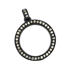 rhodium sterling silver 38pts 19mm diamond circle charm