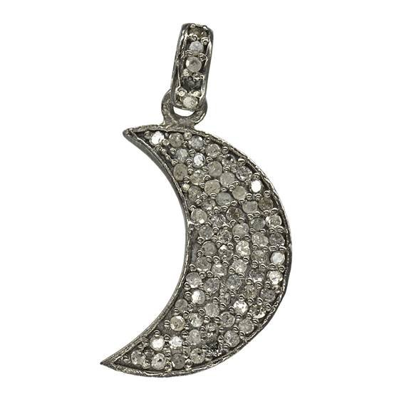 rhodium sterling silver 60pts 22mm diamond waxing crescent moon charm