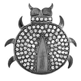 rhodium sterling silver 90pts 23mm diamond ladybug charm