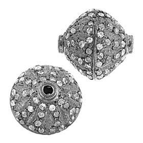 rhodium sterling silver 11mm diamond bicone bead
